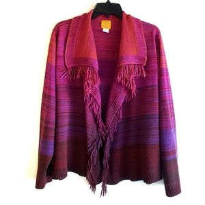 Ruby Rd. Open Front Fringe Cardigan